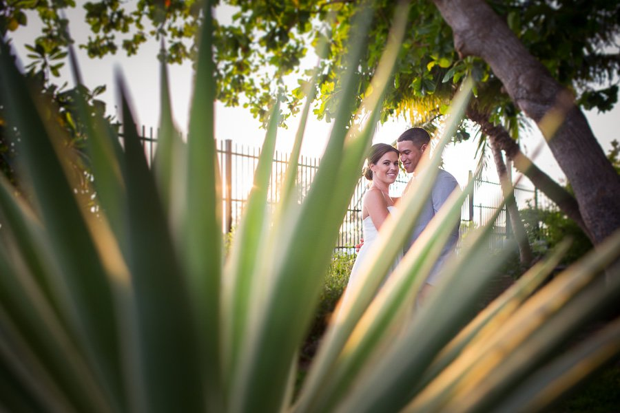 bride and groom in botanical garden west martello key west florida
