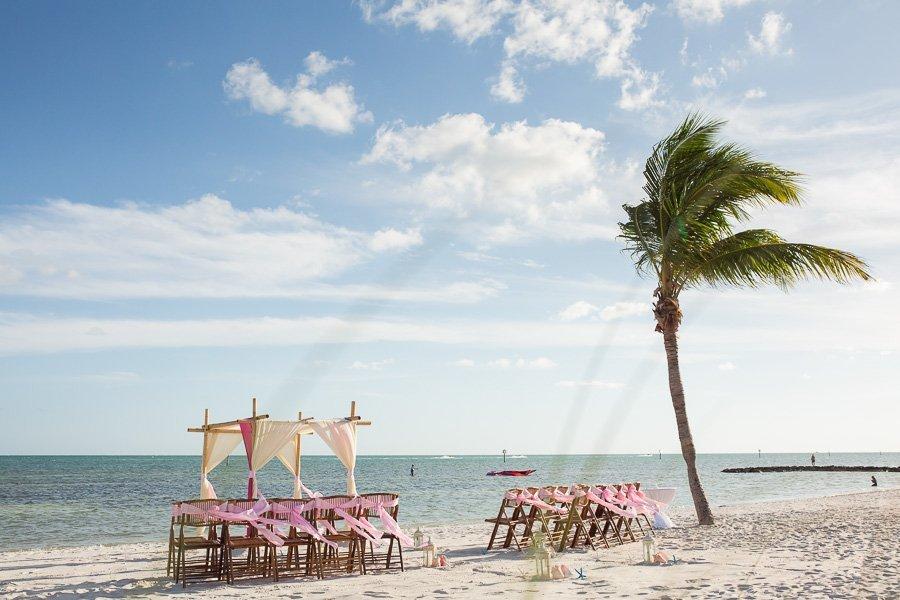 beach wedding photographer in key west florida and beach wedding set up