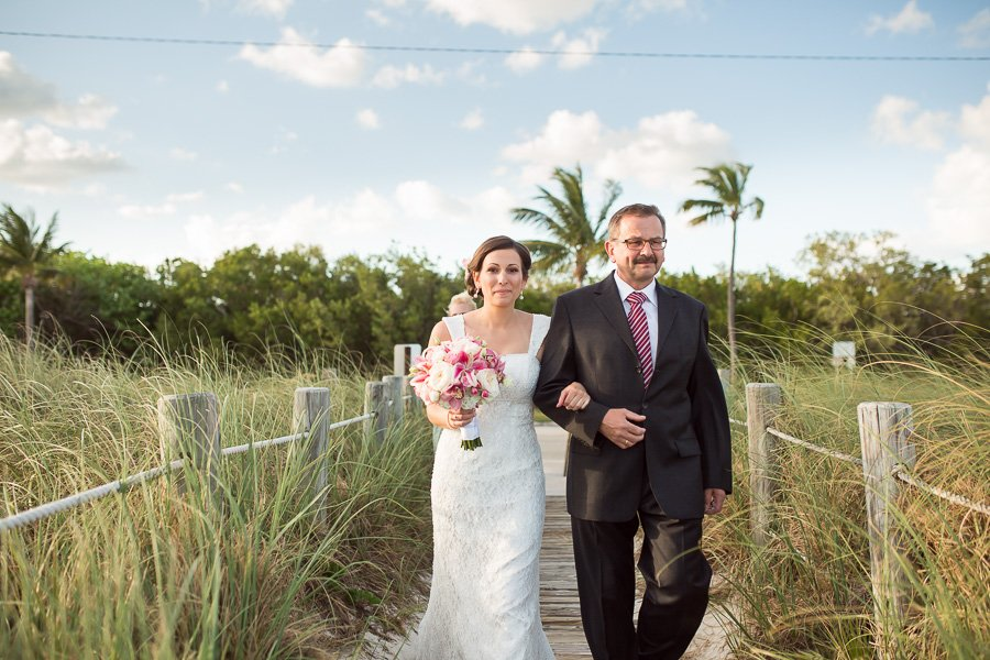 bride walking down the isle with her father key west wedding photography