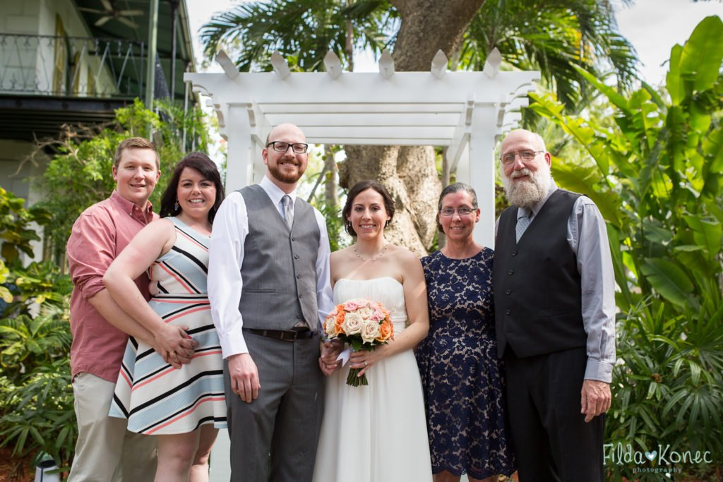 group wedding photograph at hemingway home in key west