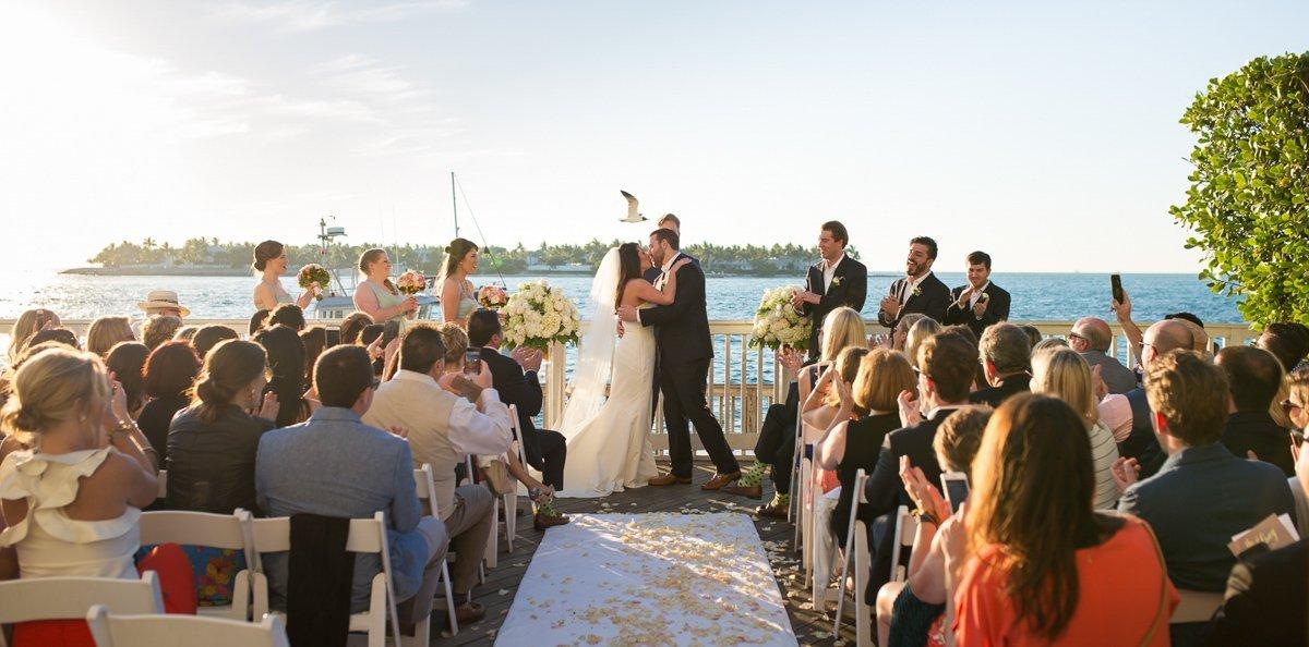 first kiss at ocean key resort wedding in key west florida