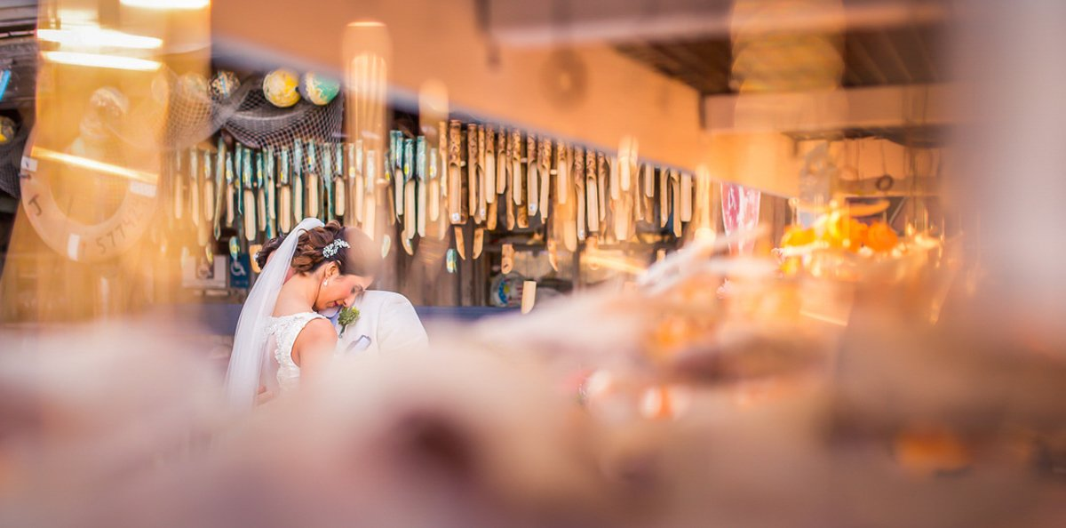 bride and groom at local market downtown key west florida