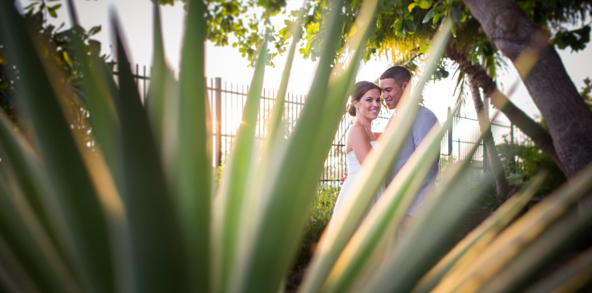 bride and groom photo at west martello museum on their wedding in key west florida