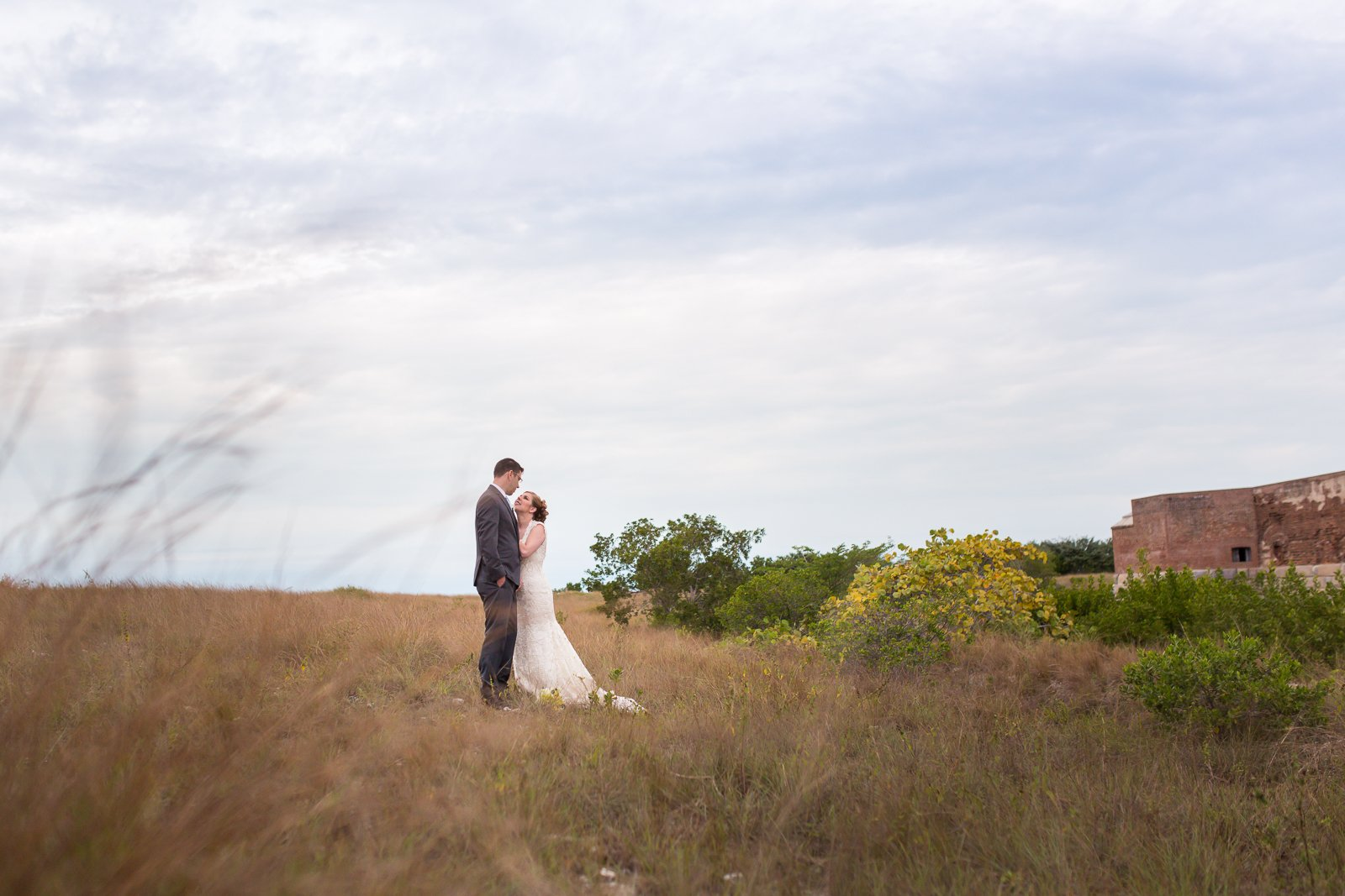 bride and groom at fort zachary state park