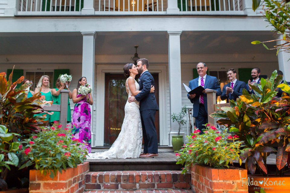 first kiss as husband and wife at their key west wedding