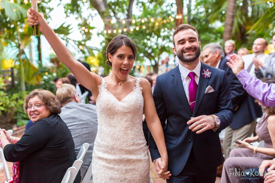 bride and groom just got married at audubon house in key west, florida
