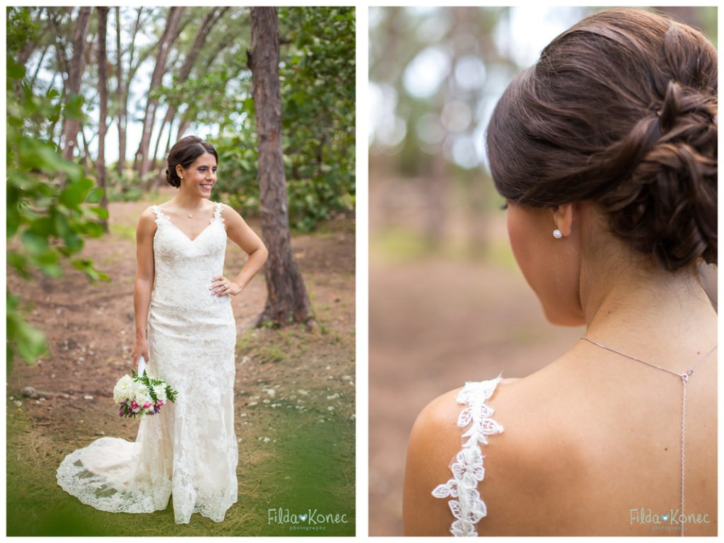 detail photo of bridal hair and makeup for her key west wedding