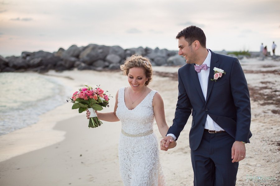 bride with her groom at fort zachary state park in key west florida