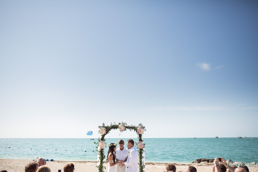 ceremony setup at sunset key florida beach wedding