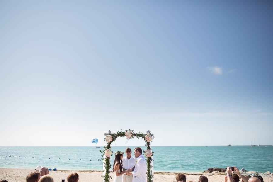 ceremony setup at sunset key florida beach wedding
