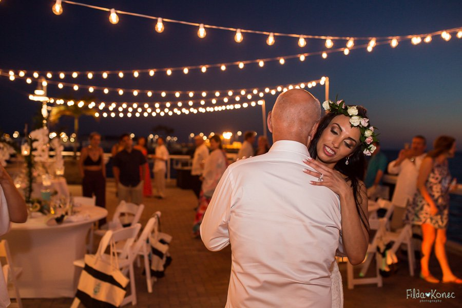 bride dances with her father at key west beach weddin