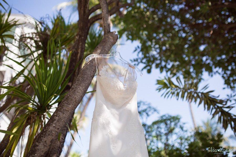 bridal dress hanging on the tree