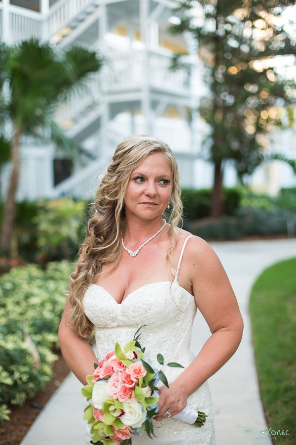 bridal portrait key west beach wedding