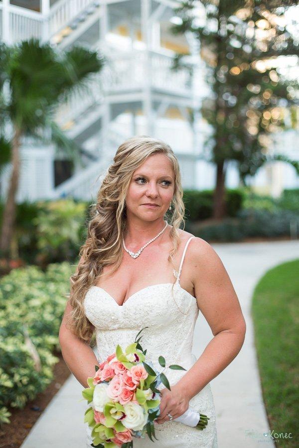 bridal portrait key west beach wedding