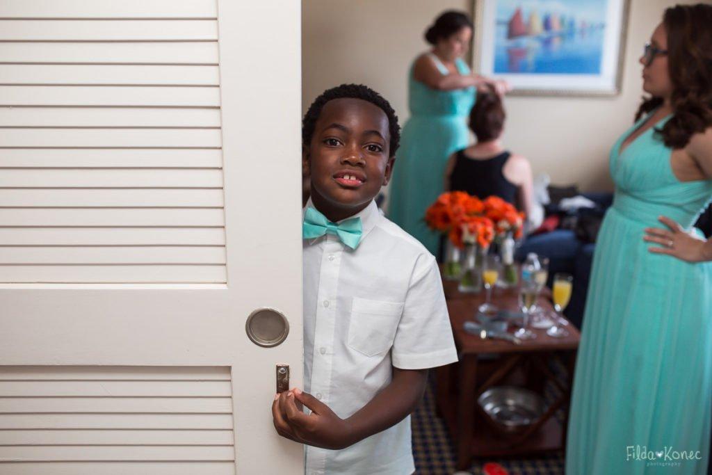 little boy behind the door
