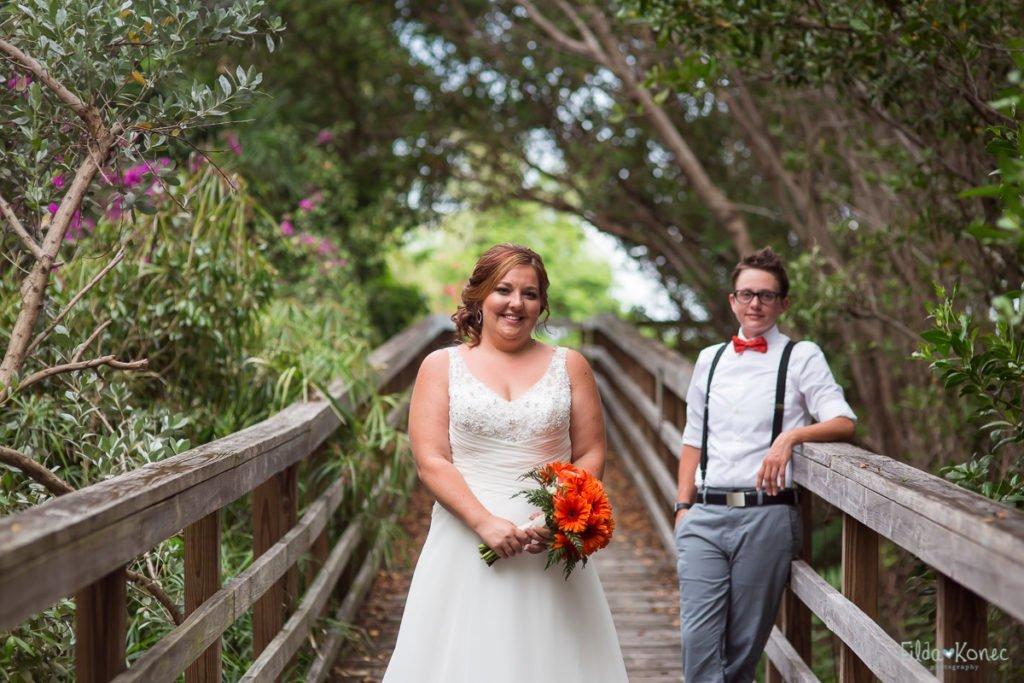birde and groom on the board walk near key west beach