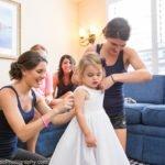 little girl getting ready