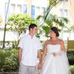 couple walks toward camera