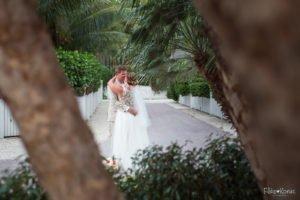 wedding portrait with trees