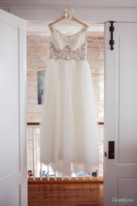 bridal gown hanging