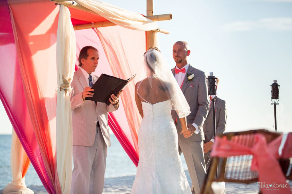 Wedding ceremony on Smather's Beach in Key West, FL