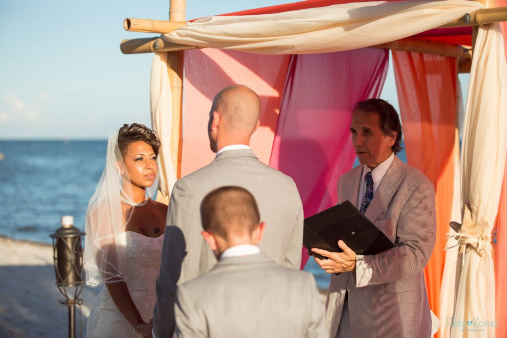 Bride looking at groom during their beach ceremony in Key West, FL