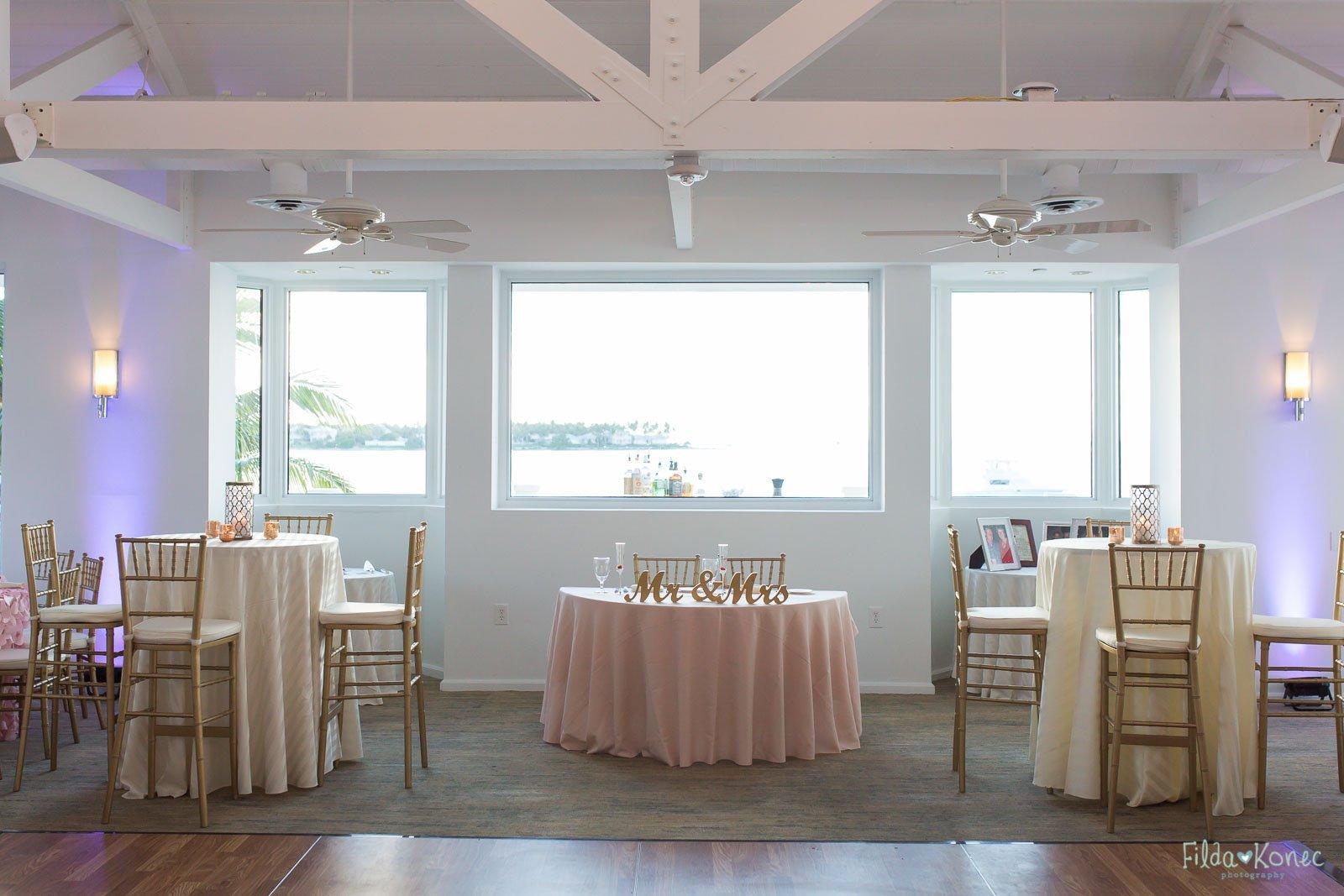 marquesa room at hyatt in key west ready for wedding reception