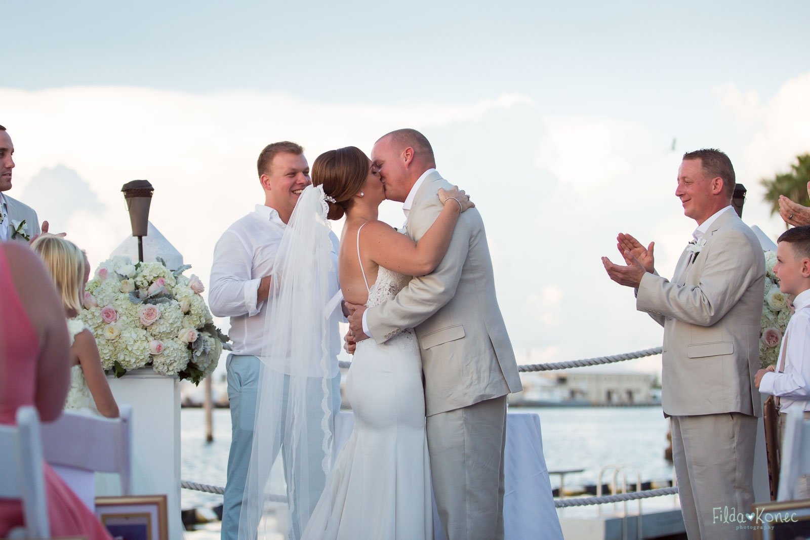 first kiss at hyatt wedding in key west