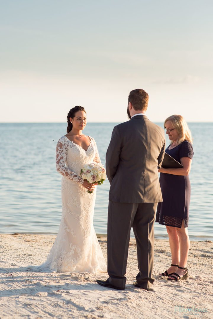 beach ceremony at little palm island