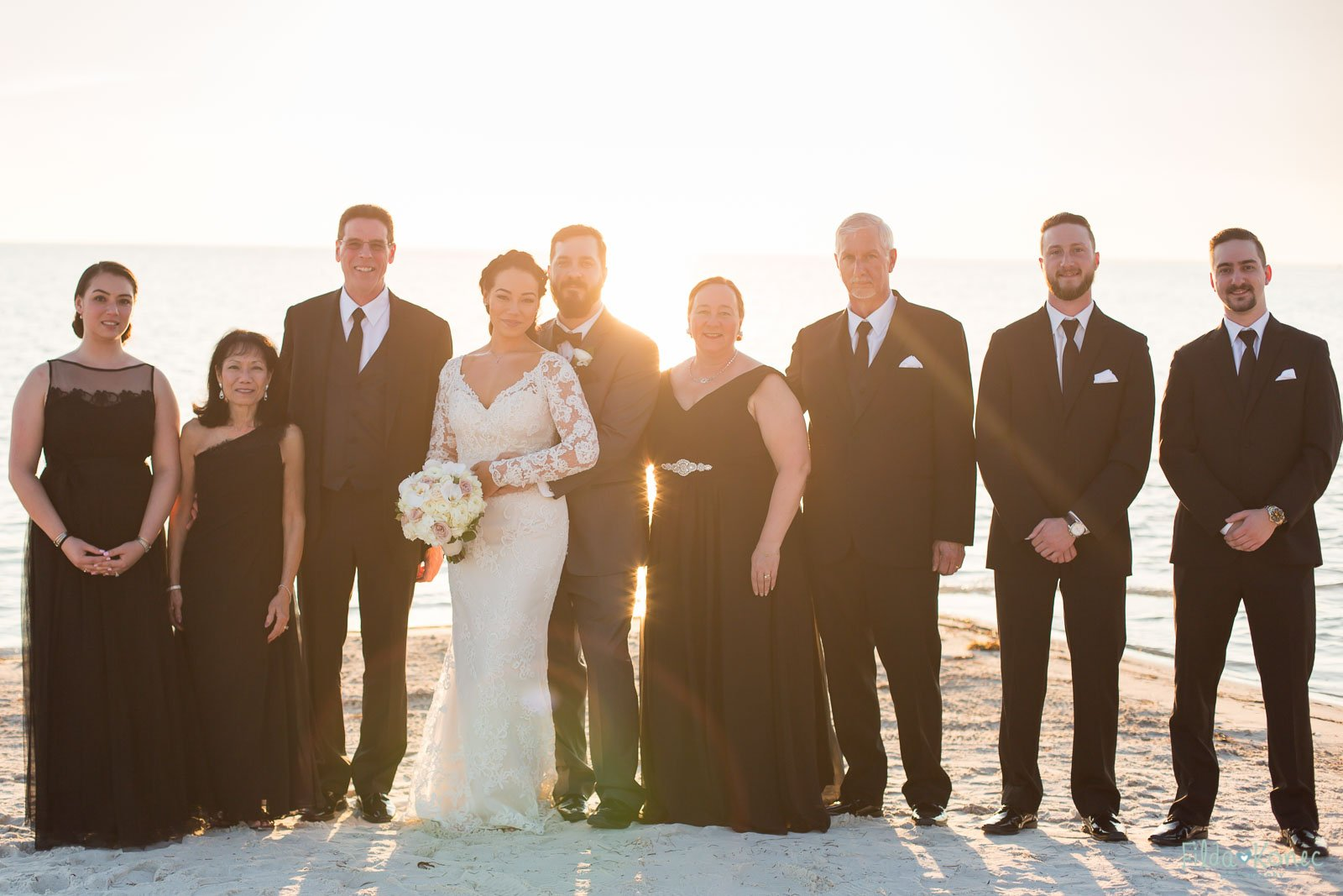 family photo at little palm island wedding