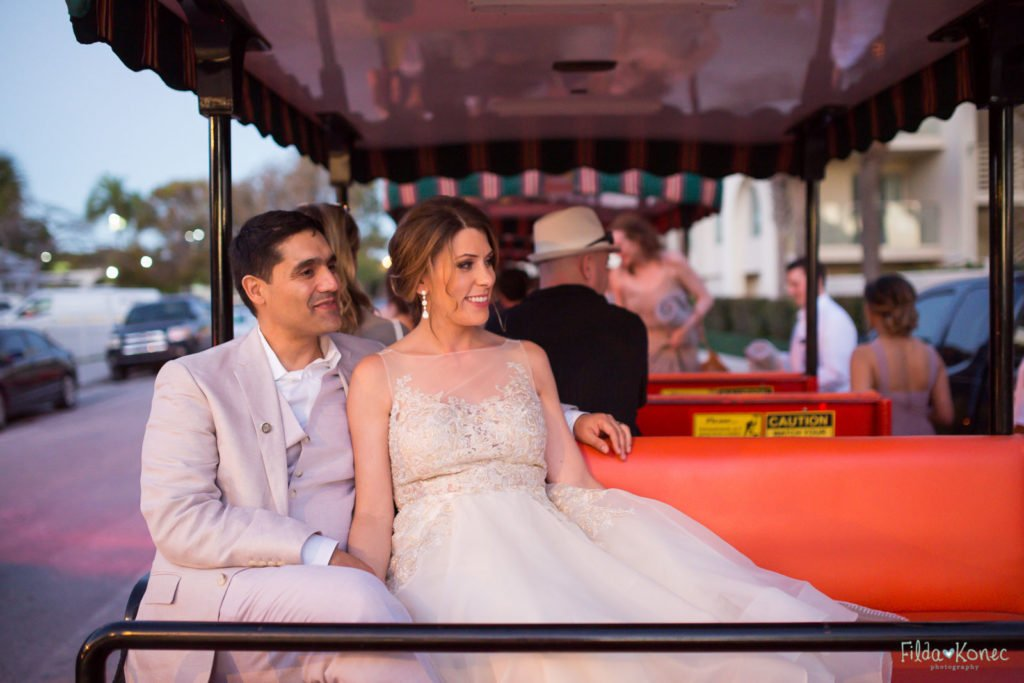 bride and groom on conch train in key west florida