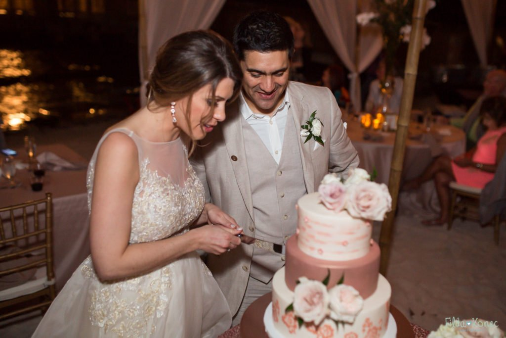 cake cutting at reach resort wedding in key west florida