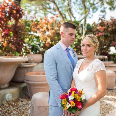 wedding photo near pier house in key west florida