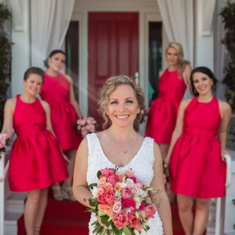 bridal party photo on duval street key west florida