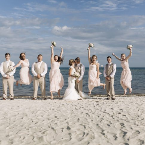 bridal party on key west beach wedding, florida keys wedding photography