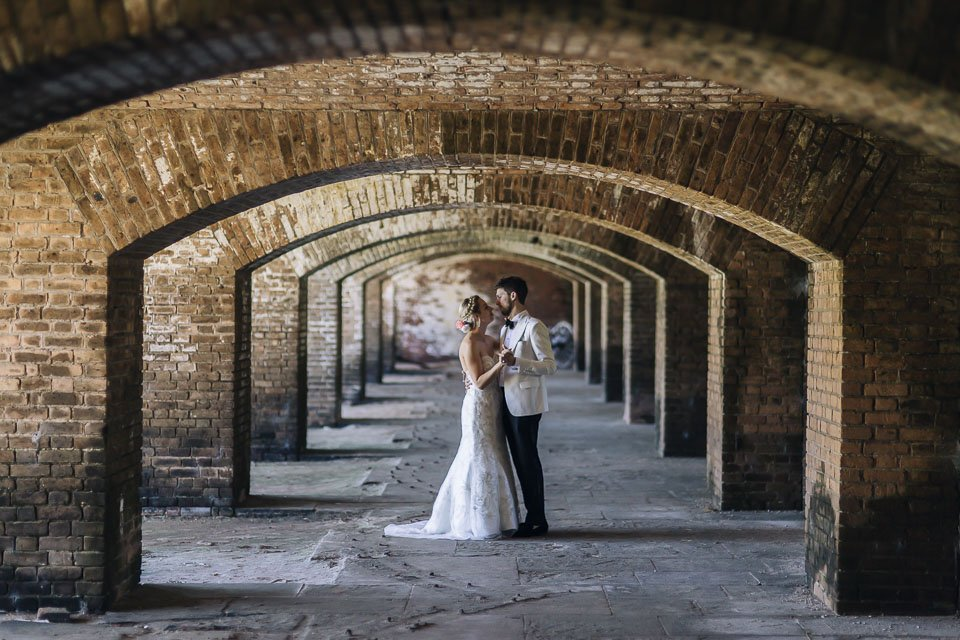 bride and groom at dry tortugas key west wedding photographer