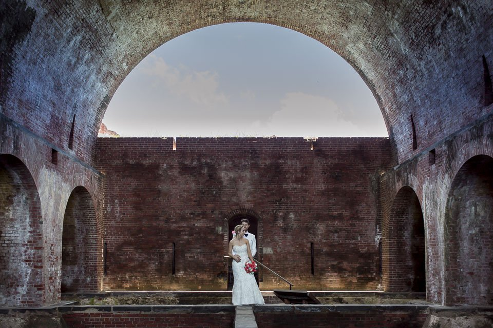 bride and groom photo architectural structure key west wedding photographer
