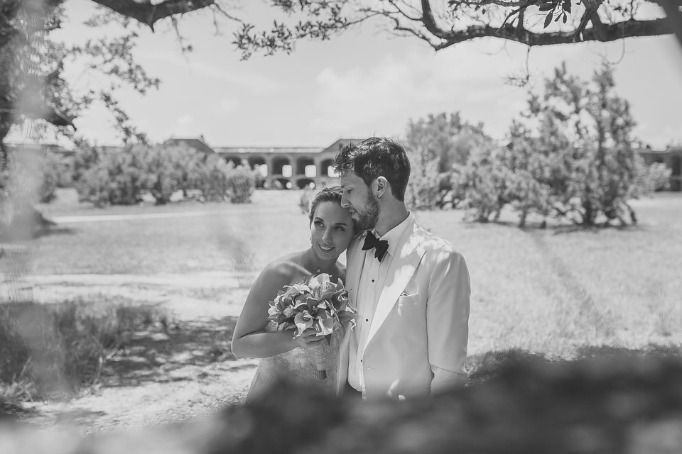 black and white photo of bride and groom in key west wedding photograph