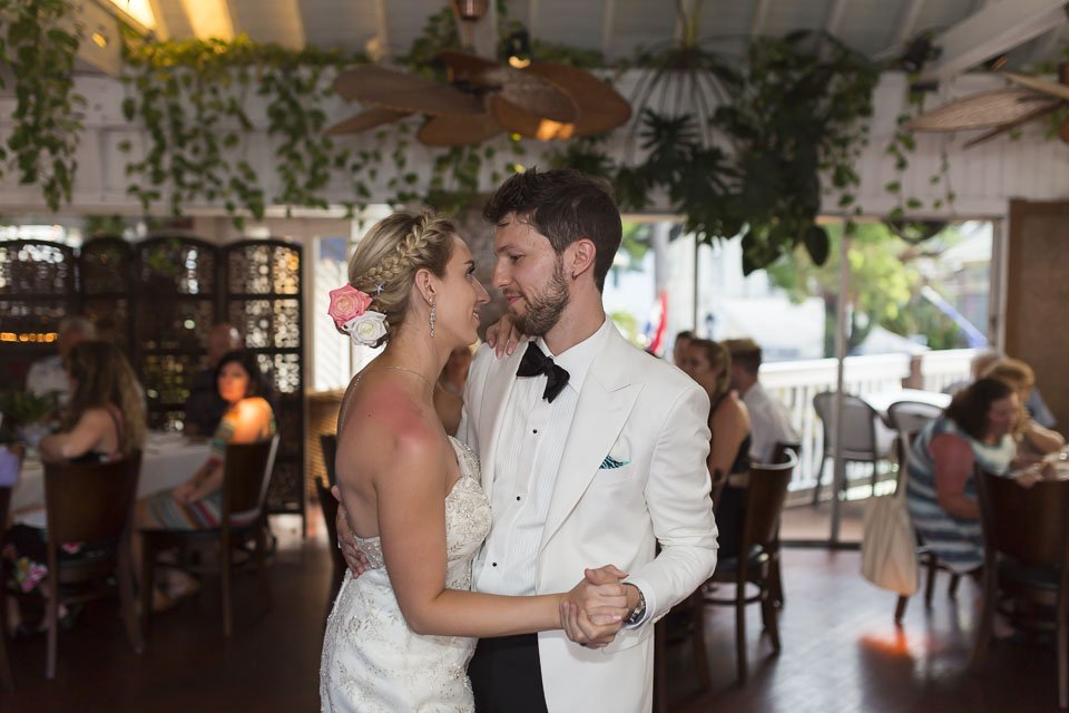 first dance at roof top cafe wedding reception