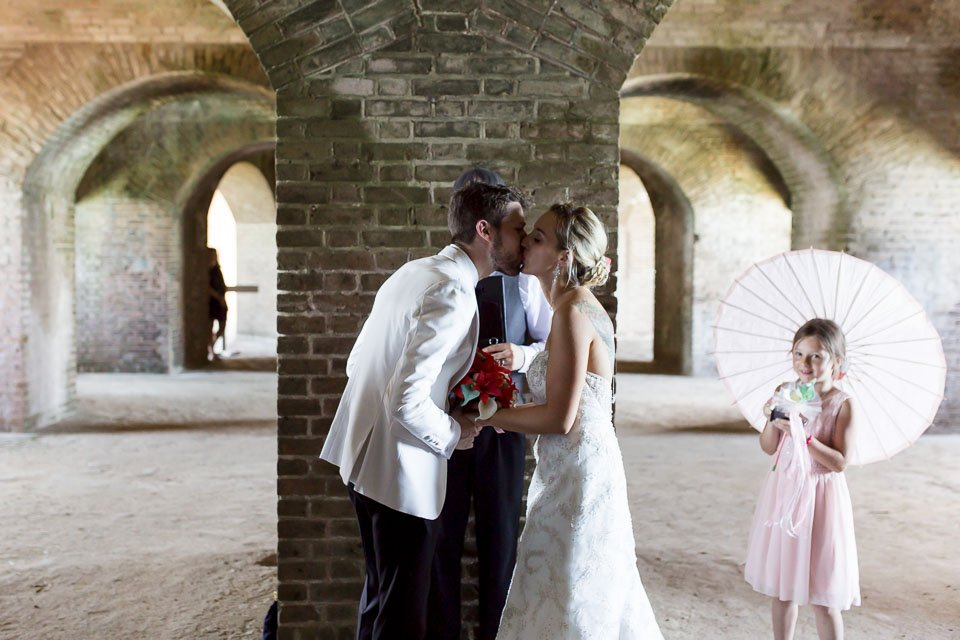 first kiss at fort jefferson wedding