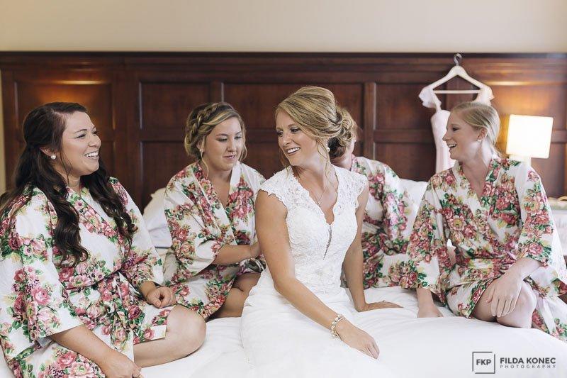 bride with her bridesmaids florida keys wedding