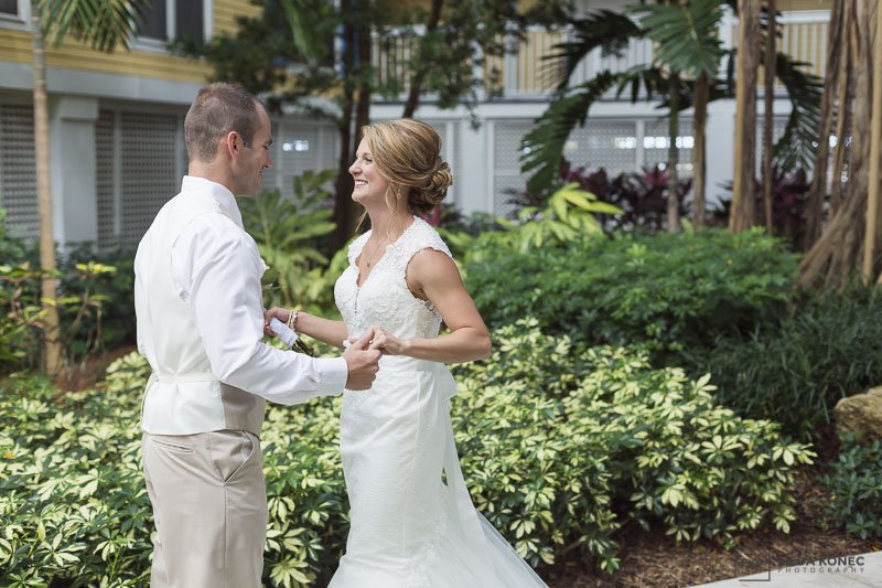 groom sees bride for the first time at sheraton suites key west wedding