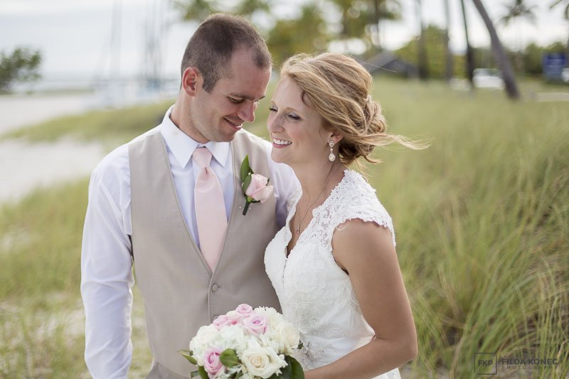 photo of bride and groom smiling