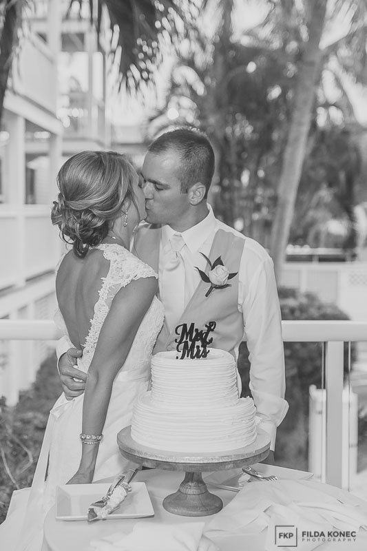 bride and groom kiss at their key west wedding ceremony