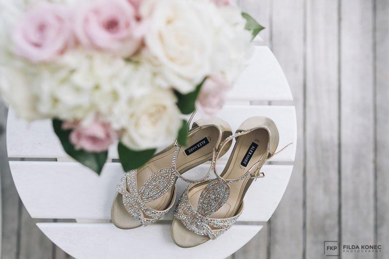 bridal shoes closeup