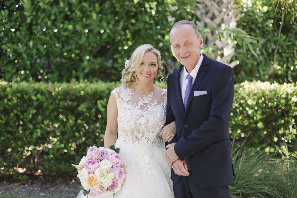 bride with her father at key west wedding