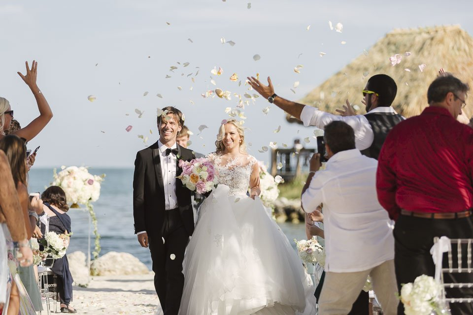 ceremony recessional at key west wedding venue at yacht club