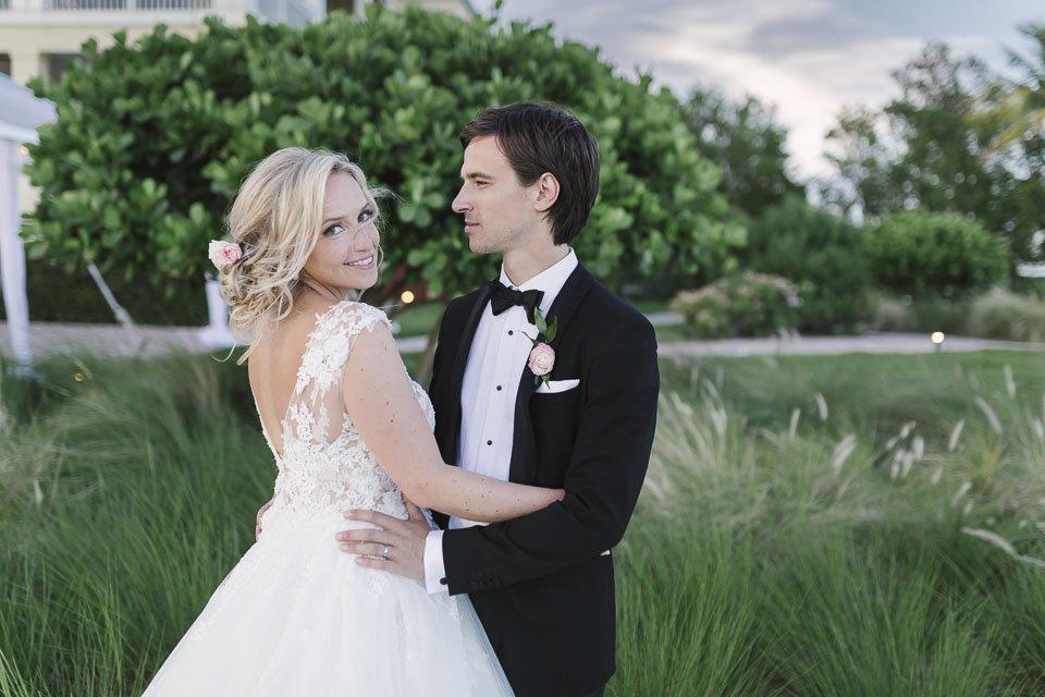 bride and groom in key west yacht club