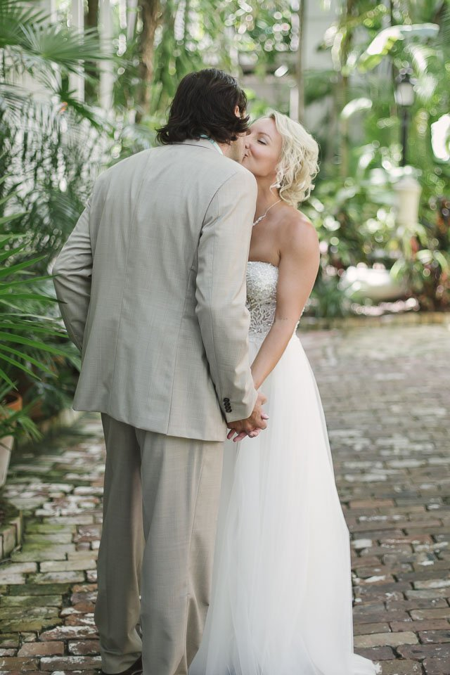 wedding couple kiss at old manor wedding in key west