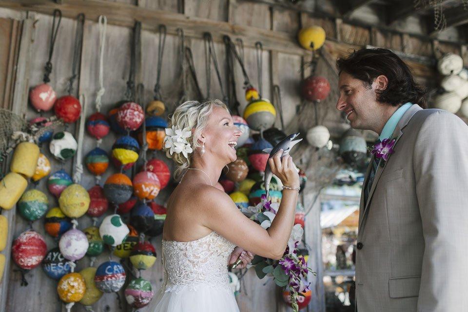 wedding photo from key west couple having fun